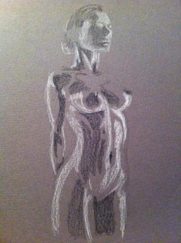 crayon graphite et crayon blanc sur canson gris