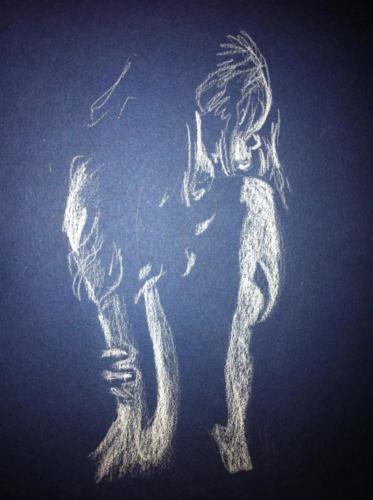 crayon blanc sur papier canson bleu