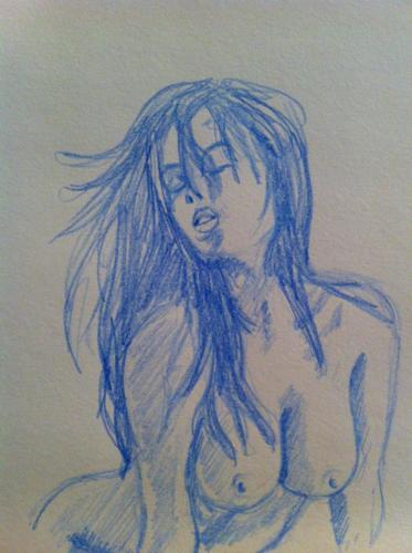 crayon bleu sur papier canson