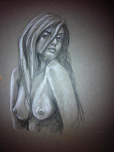 crayon blanc et graphite sur papier gris