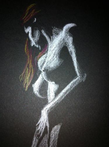 crayon blanc, jaune et rouge sur papier canson noir