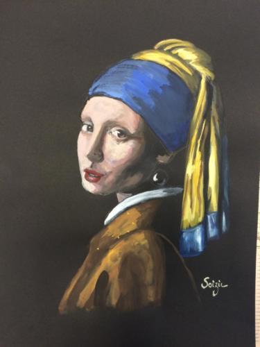 étude de 'jeune fille à la perle' de Johannes Vermeer
