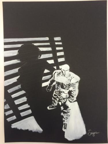 étude de 'Sin City' de Frank Miller a la gouache blanche