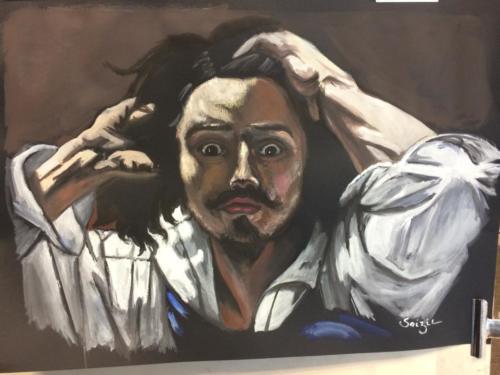 étude du 'désespéré' de Gustave Courbet à la gouache