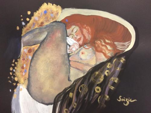 étude de 'Danae' de Klimt à la gouache et encre dorée