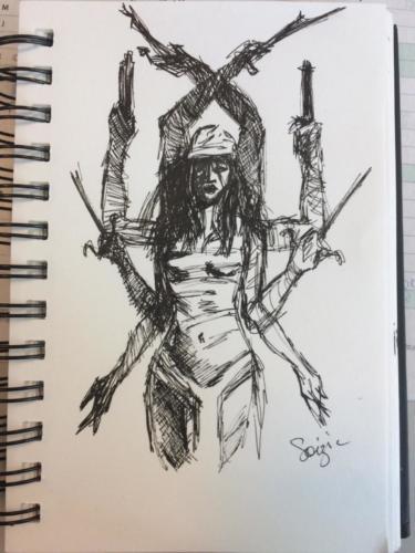 étude de 'Elektra' par Bill Sienkewicz