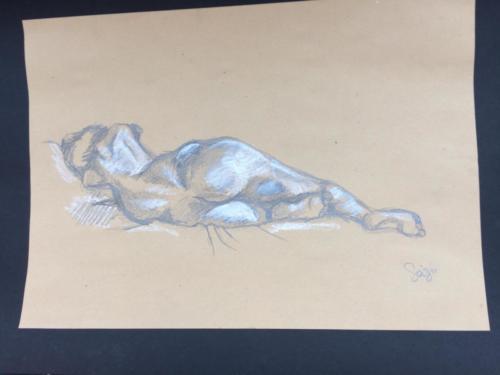 crayon graphite et crayon blanc sur papier sepia