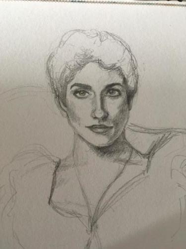 étude de 'Lady Agnes of Lochnaw' de John Singer Sargent au crayon graphite