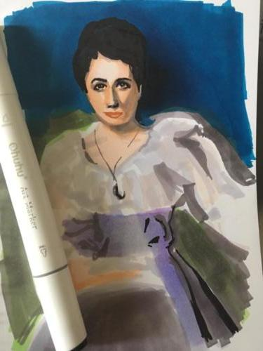 étude de 'Lady Agnes of Lochnaw' de John Singer Sargent aux feutres ohuhu